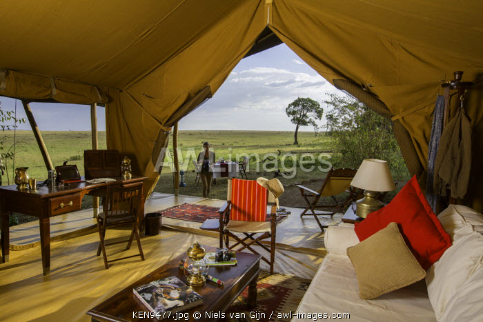 awl-images.com - Kenya / Kenya, Mara North Conservancy. The interior of a luxury safari tent in Elephant Pepper Camp. MR.
