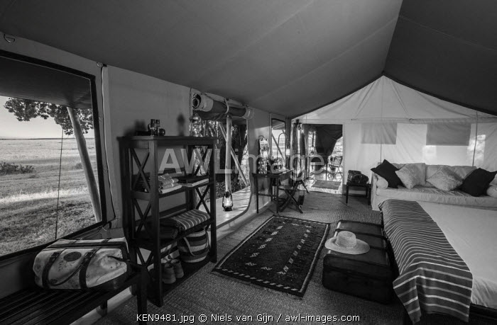 Kenya, Mara North Conservancy. The interior of a luxury safari tent in Elephant Pepper Camp.