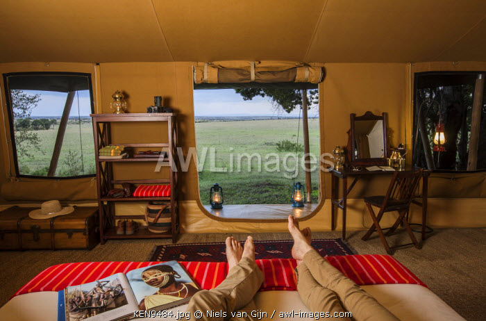 Kenya, Mara North Conservancy. The interior of a luxury safari tent in Elephant Pepper Camp. MR.