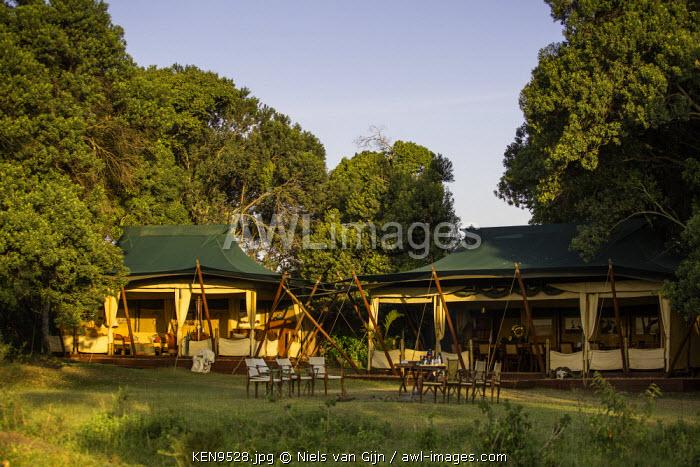 Kenya, Mara North Conservancy. The mess tents at Elephant Pepper Camp.