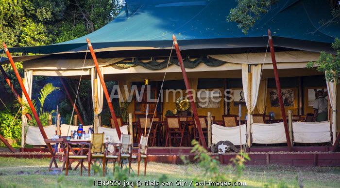 Kenya, Mara North Conservancy. The mess tents at Elephant Pepper Camp.