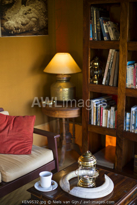 Kenya, Mara North Conservancy. The library at Elephant Pepper Camp. Detail.