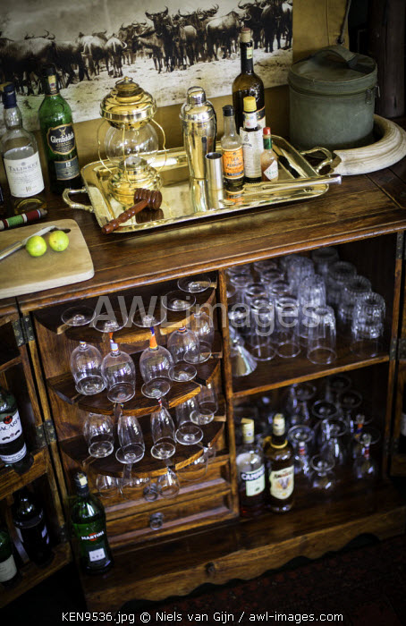 Kenya, Mara North Conservancy. A well-stocked bar at Elephant Pepper Camp.