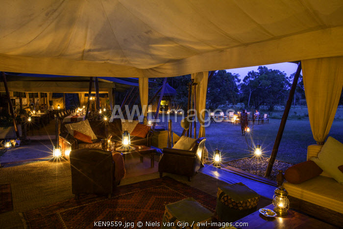Kenya, Mara North Conservancy. The magical mess tent in Elephant Pepper Camp in the evening light. MR.