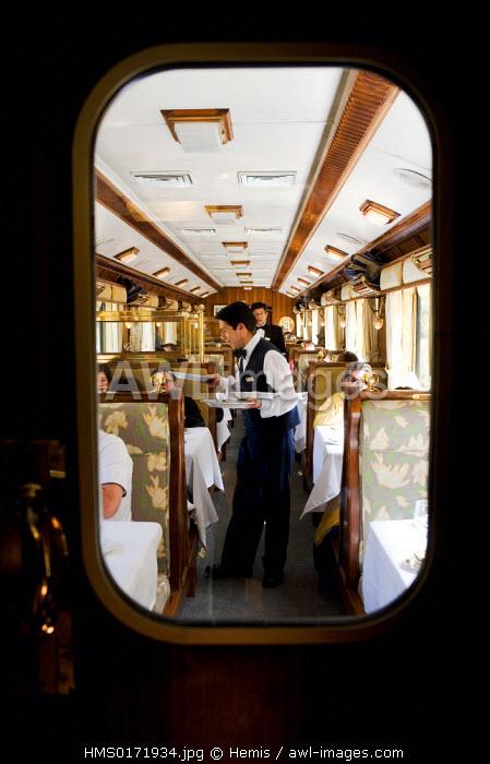 Peru, Cuzco Department, Incas sacred valley, Hiram Bingham train towards the Machu Picchu, buffet car, lunch service