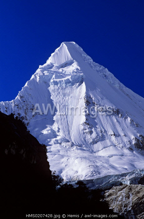 Peru, Huaraz province, Cordillera Blanca, sowcapped summit of the Artesonraju (6025 m)