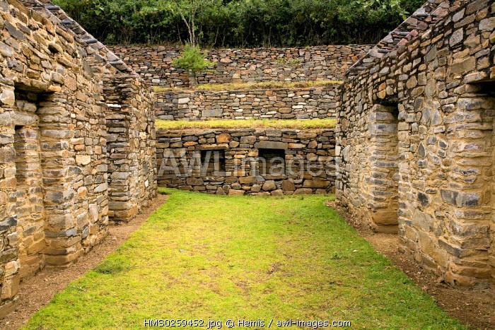 Peru, Cuzco Departement, the Inca site of Choquequirao in the Vilcabamba Cordillera, the ruins of the upper side or Hanan