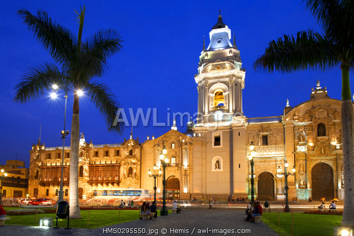 Peru, Lima, historical center listed as World Heritage by UNESCO, Plaza de Armas, Baroque architecture Cathedral built in the 17th century