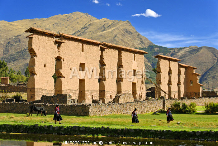 Peru, Cuzco Province, Inca archeological site of Raqchi, Wiracocha temple, important religious and administrative site, it is the only Inca building to have columns