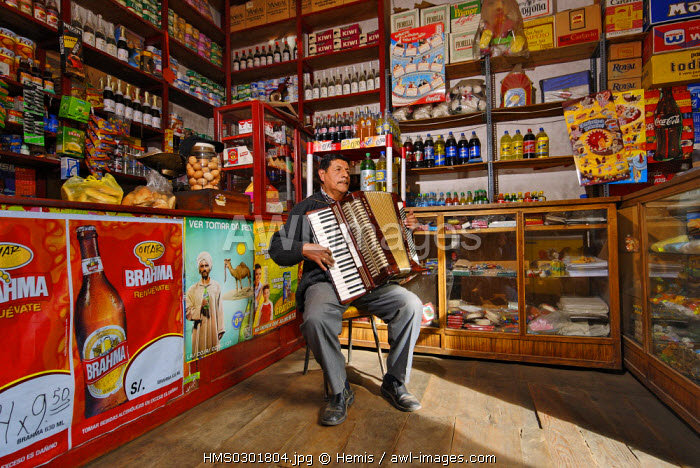 Peru, Puno Province, Puno, one of the oldest grocery shop of the city, formely a chocolate factory