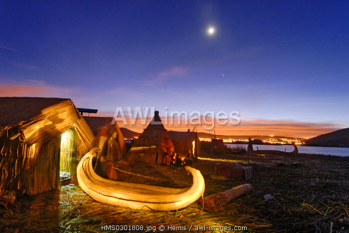 Peru, Puno Province, lake Titicaca, floating islands of Uros, lying on a bed of reeds, 80 cm high above the surface of water, the artificial archipelago hasn't changed much since the 13th century