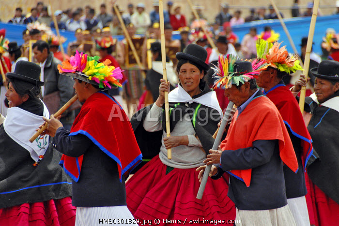 Peru, Puno Province, Puno, capital of the peruvian folklore the city celebrates the anniversary of its fundation with the re-enactement of the arrival of the mythical inca couple of Mama Ocllo and Manco Capac