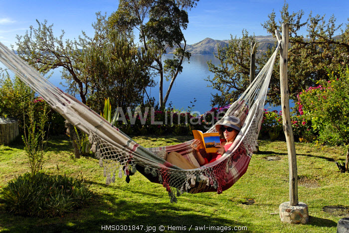 Peru, Puno Province, lake Titicaca, island of Suasi, Casa Andina hotel, 5 hours away by boat of Puno, it is the only hotel on the lake and it works entirely with solar energy
