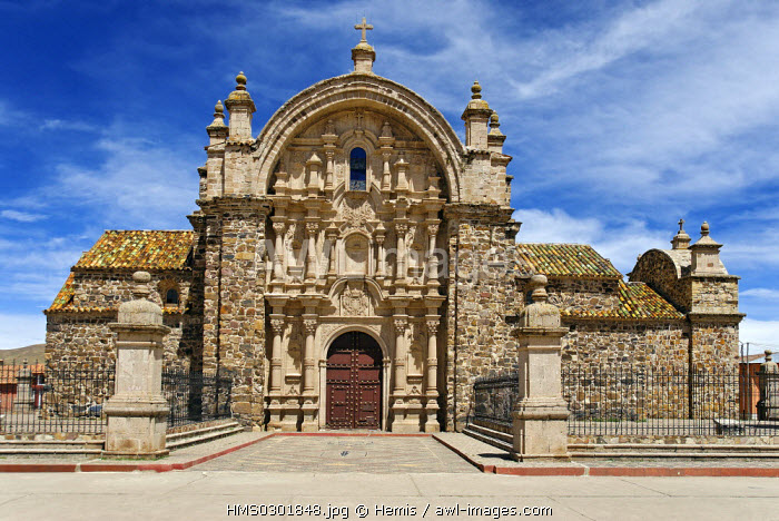 Peru, Puno Province, Lampa, baroque style church of Santiago Apostol of the 17th century and its crypt covered with skeletons