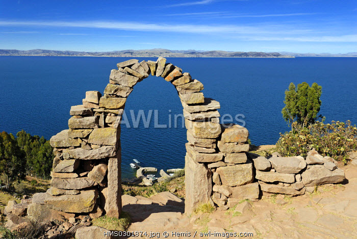 Peru, Puno Province, lake Titicaca, island of Taquile, there are 533 steps to reach on the main arch shaped entrance of the village