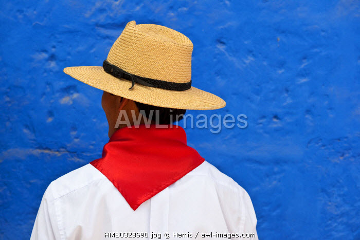 Peru, Arequipa Province, Arequipa, man with a straw hat