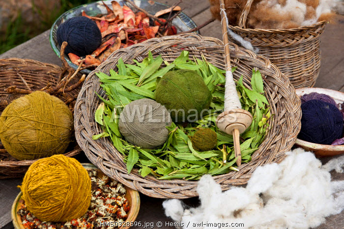 Peru, Cuzco Province, Incas sacred valley, Chinchero, balls of llama and alpaca wool made by Quechua Indian weavers from the Awana Wasi community
