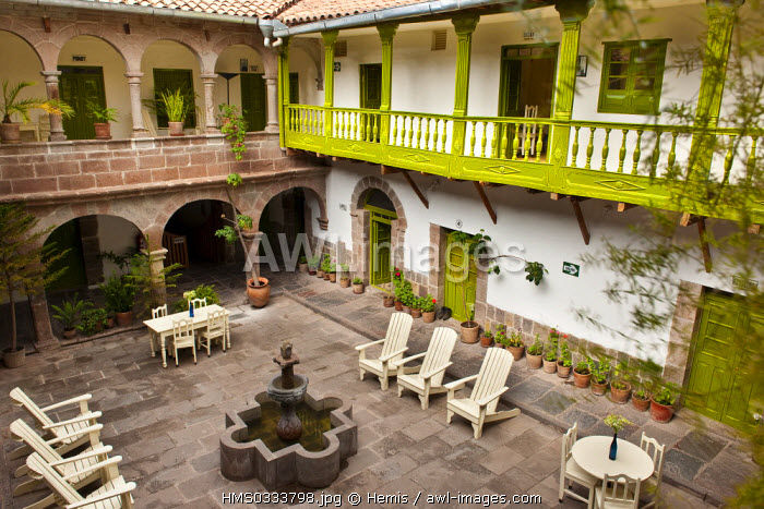 Peru, Cuzco Province, Cuzco, patio of one of the three Ninos Hotel directed by Jolanda van den Berg, the hotel earnings are managed by the Ninos Hotel Charitable Foundation which is in charge of 600 street children