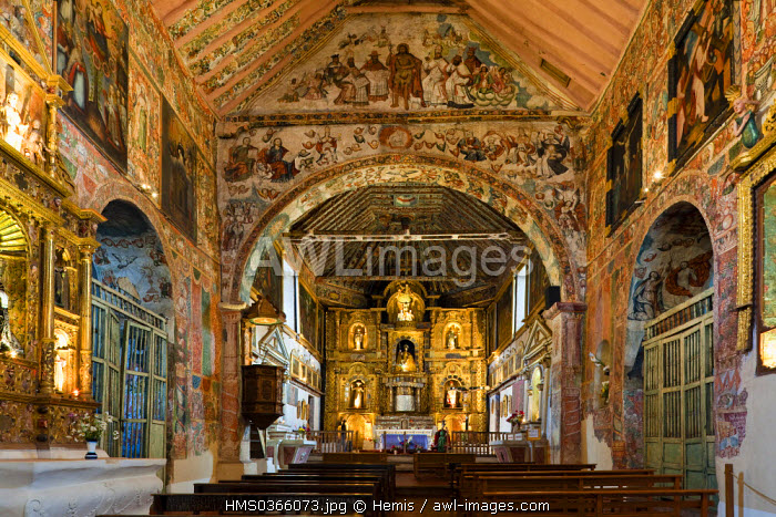 Peru, Cuzco Province, Huaro, church covered of Baroque paintings and frescoes of Cuzco School of the 17th and 18th centuries