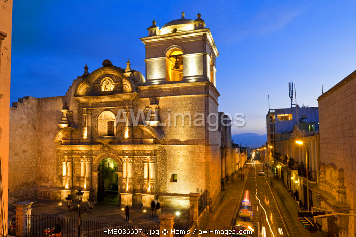 Peru, Arequipa Province, Arequipa, historical center listed as World Heritage by UNESCO, the Baroque Church of Compania built of the end of the 18th century