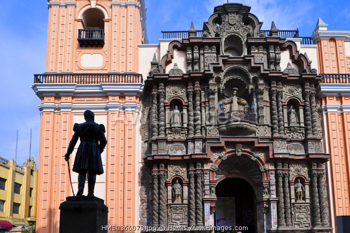 Peru, Lima, historical center listed as World Heritage by UNESCO, Baroque facade of La Merced Church