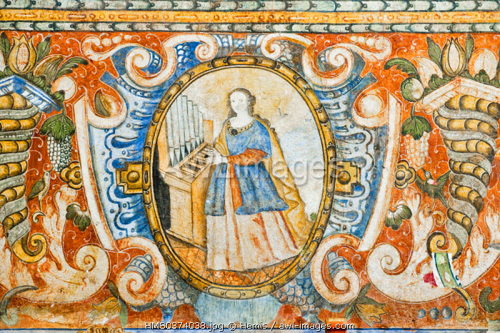 Peru, Cuzco Province, Andahuaylillas, Baroque Church covered of Baroque paintings and frescoes of Cuzco School of the 17th and 18th centuries, considered as the Sistine Chapel of the Andes, St Cecilia, patron saint of musicians