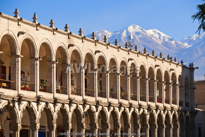 Peru, Arequipa Province, Arequipa, historical center listed as World Heritage by UNESCO, Plaza de Armas and its arches, Misti Volcano in the background