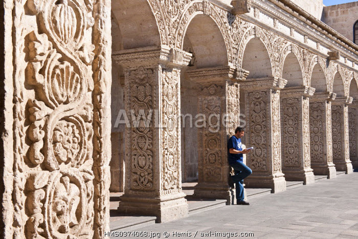 Peru, Arequipa Province, Arequipa, historical center listed as World Heritage by UNESCO, cloister of the Baroque Church of Compania built of the end of the 18th century