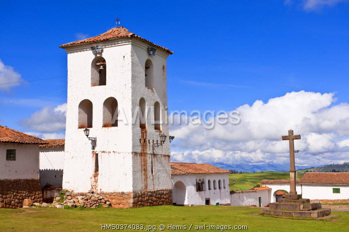 Peru, Cuzco Province, Incas sacred valley, Chinchero, the 16th century church built on Inca remains of terrace cultivations