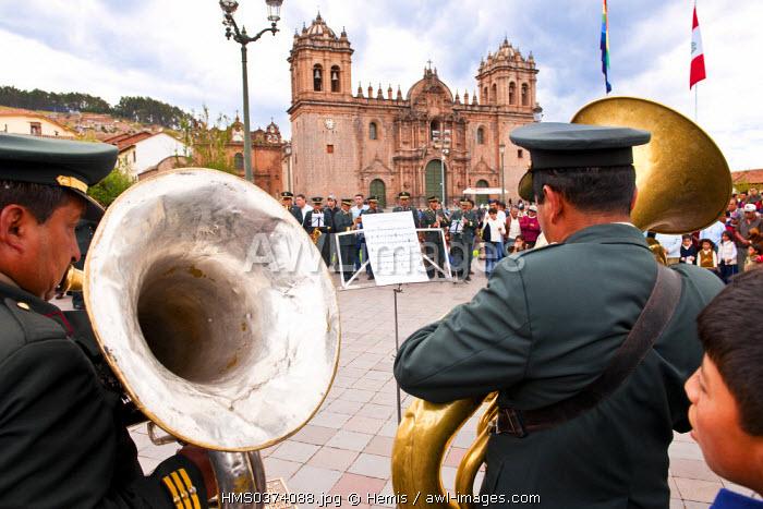 Peru, Cuzco Province, Cuzco, listed as World Heritage by UNESCO, Plaza de Armas, military band