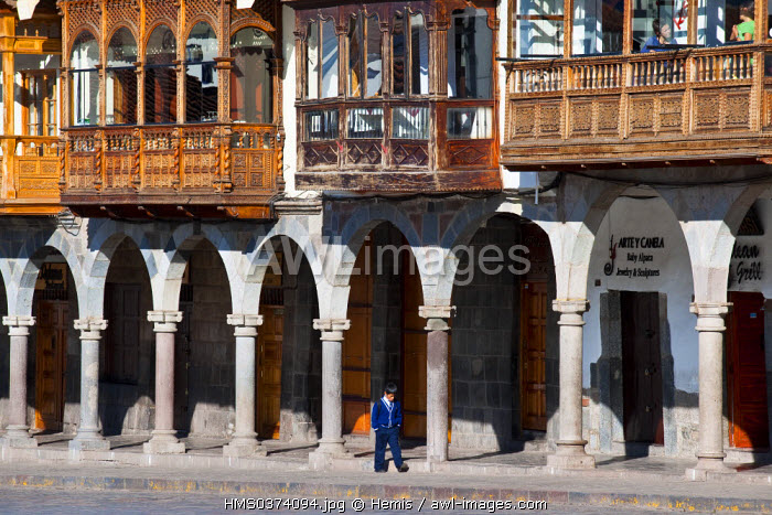 Peru, Cuzco Province, Cuzco, listed as World Heritage by UNESCO, Plaza de Armas with colonial architecture and its arches