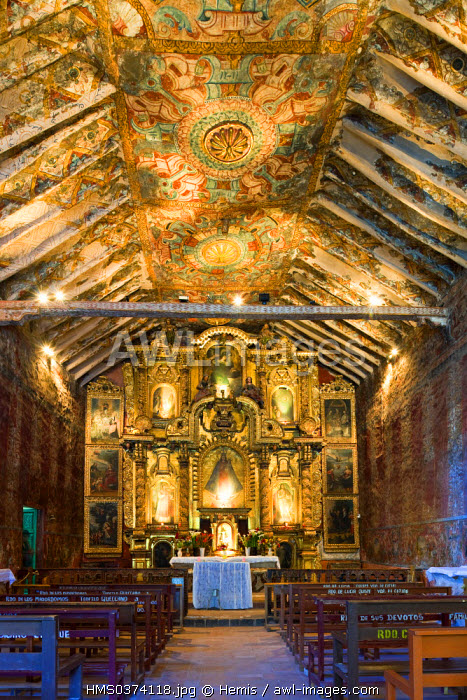 Peru, Cuzco Province, Kaninunka, church covered of Baroque paintings and frescoes of Cuzco School of the 17th and 18th centuries