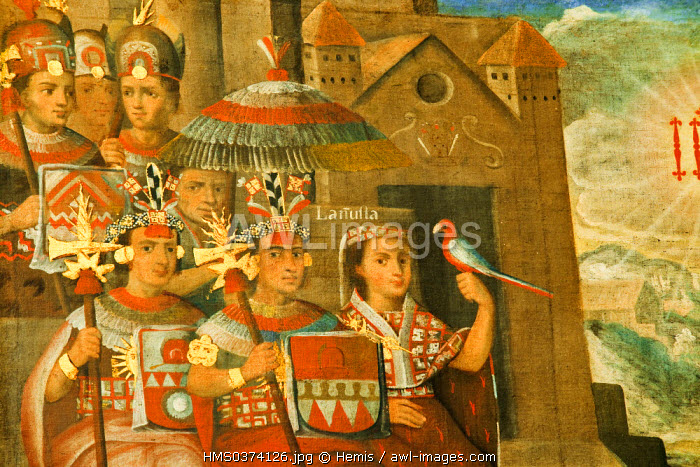 Peru, Lima, Pedro de Osma museum, Cuzco school painting, wedding of the Inca imperial descendants with the Cas Loyola y Borja, Inca dignitaries, detail, 18th century