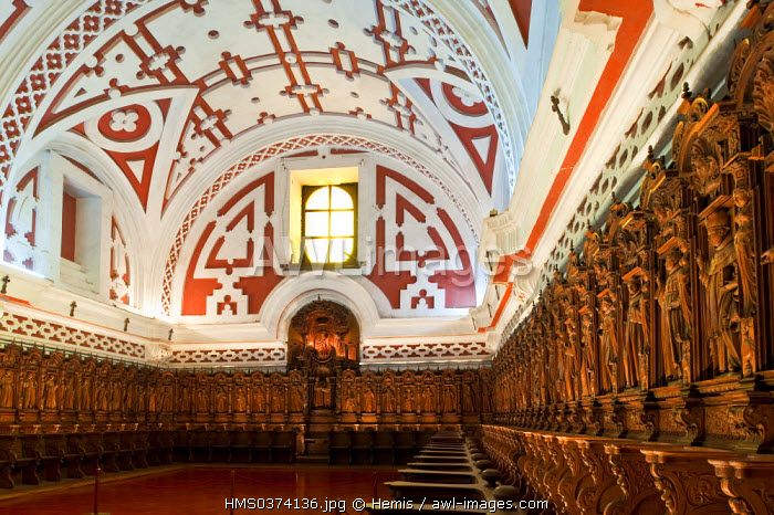 Peru, Lima, historical center listed as World Heritage by UNESCO, San Francisco Church, the choir stalls in cedar wood, 17th century