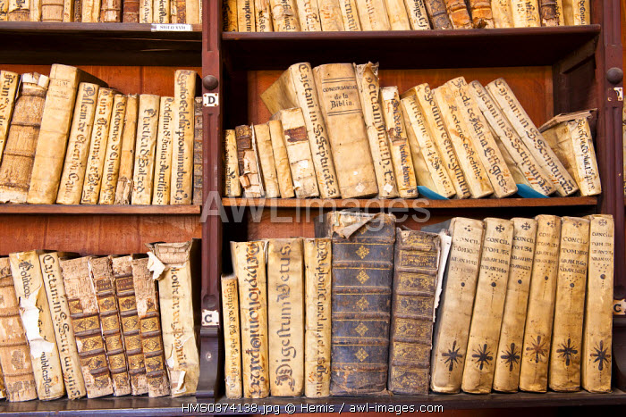 Peru, Lima, historical center listed as World Heritage by UNESCO, San Francisco Church, Franciscans Library, 17th century, bibles and rosaries