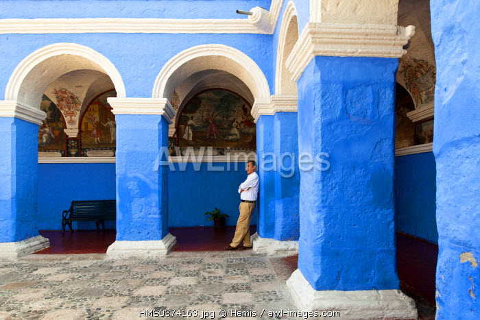 Peru, Arequipa Province, Arequipa, historical center listed as World Heritage by UNESCO, Santa Catalina Monastery founded in 1530, is still inhabited by 30 Dominican nuns, the Orange trees cloister