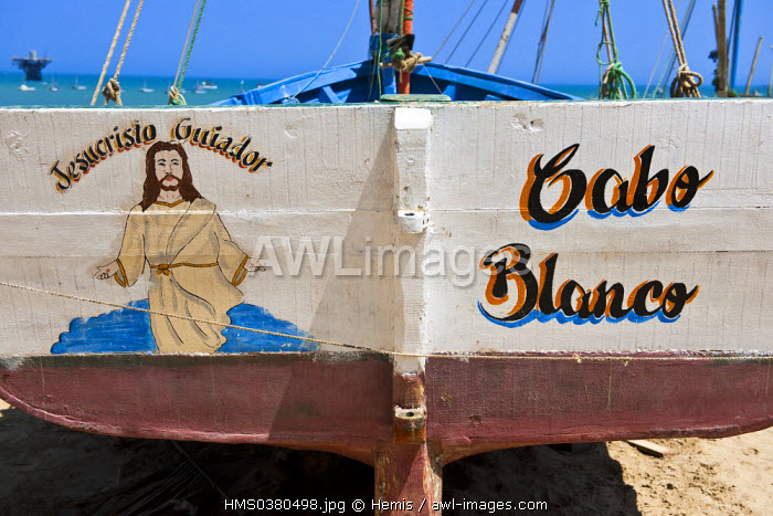 Peru, Piura Province, Cabo Blanco where Ernest Hemingway stayed during the filming of The Old Man and the Sea, decoration of the stern of a fishing boat