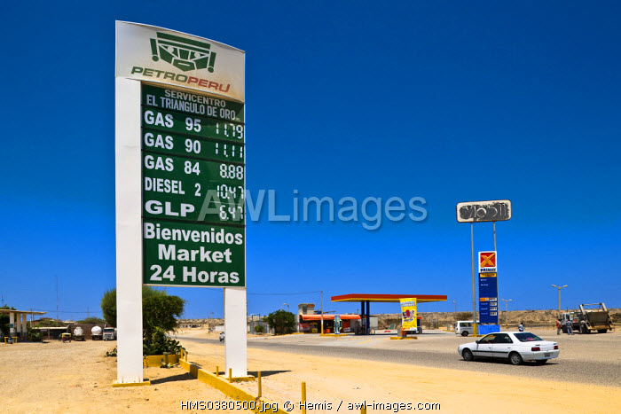 Peru, Piura Province, Cabo Blanco where Ernest Hemingway stayed during the filming of The Old Man and the Sea, gas station at the edge of the Pan-American Highway