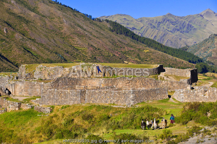 Peru, Cuzco province, Inca site of Puka Pucara meaning Red Fort in Quechua language