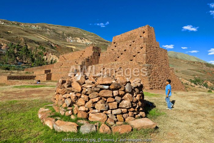 Peru, Cuzco province, the southern valley, the Inca archaeological site of Piquillacta which means the City of Fleas in Quechua, built by the Indians checkerboard Huaris