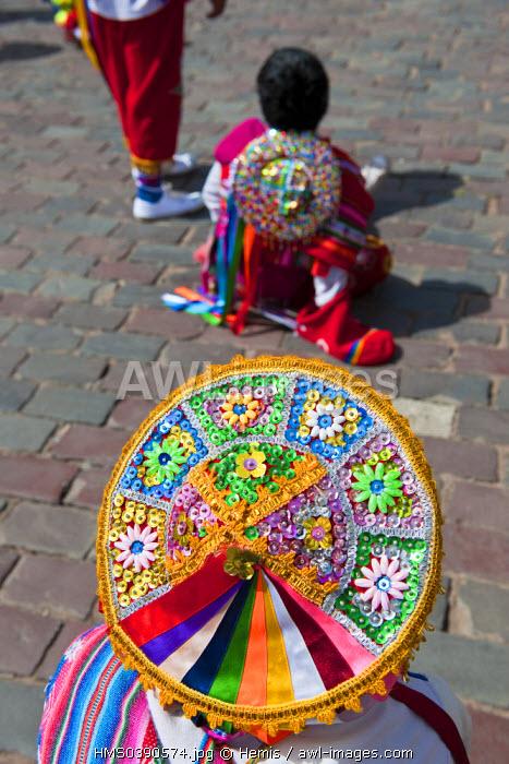 Peru, Cuzco province, Cuzco, listed as World Heritage by UNESCO, Plaza de Armas, Holy Week, folk dances