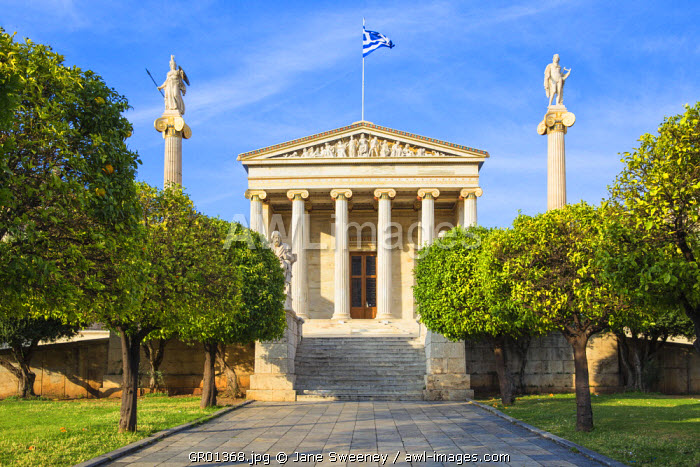 Greece, Attica, Athens, Academy of Arts, Statues of Athena and Apollo