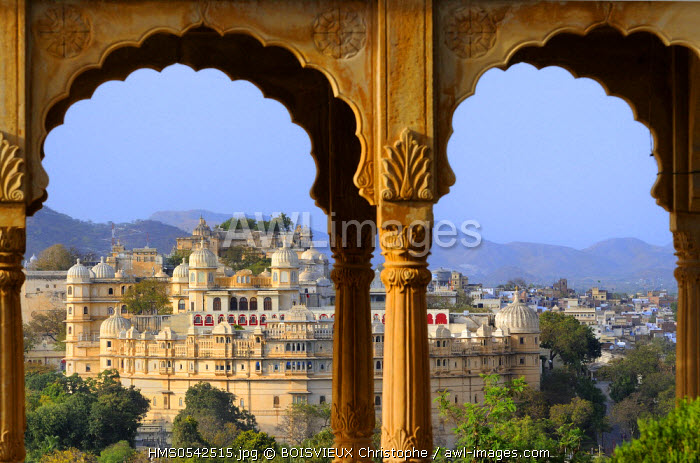 India, Rajasthan State, Udaipur, The City Palace seen from Sunset point