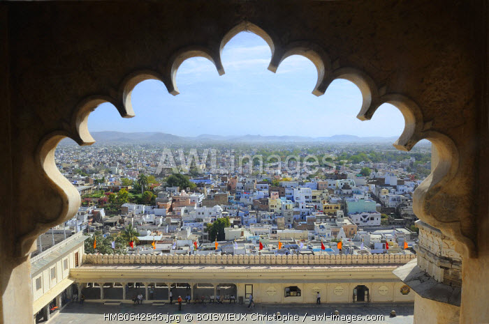 India, Rajasthan State, Udaipur, The town from the City Palace windows