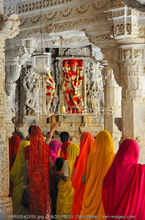 India, Rajasthan State, Ranakpur, Adinath Jain Temple, Jain devotees