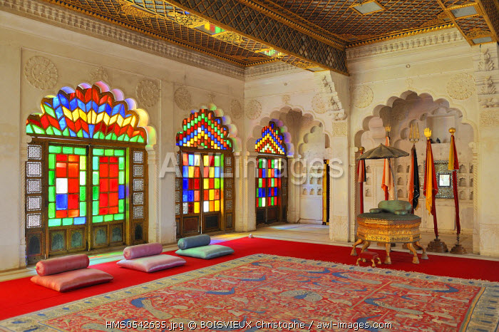 India, Rajasthan State, Jodhpur, Mehrangarh fort, Moti Mahal (Pearl palace)