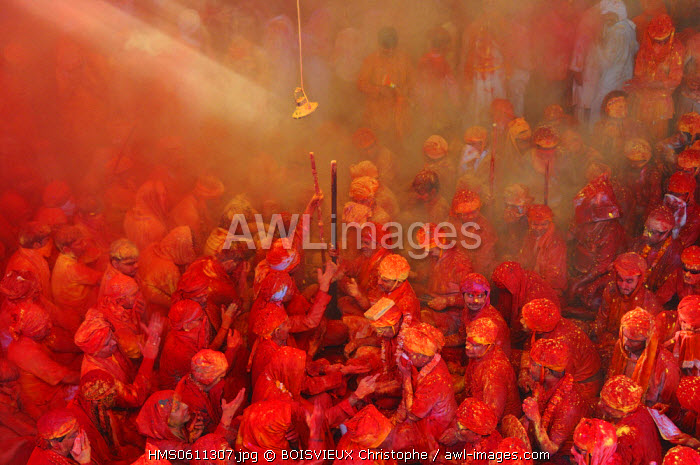 India, Uttar Pradesh state, Holi festival, Colour and spring festival celebrating the love between Krishna and Radha