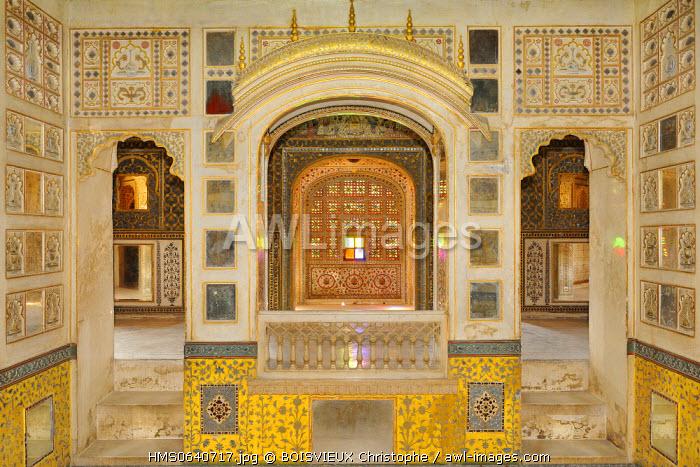 India, Rajasthan state, Bikaner, Junagarh fort, Chandra Mahal (Moon palace)