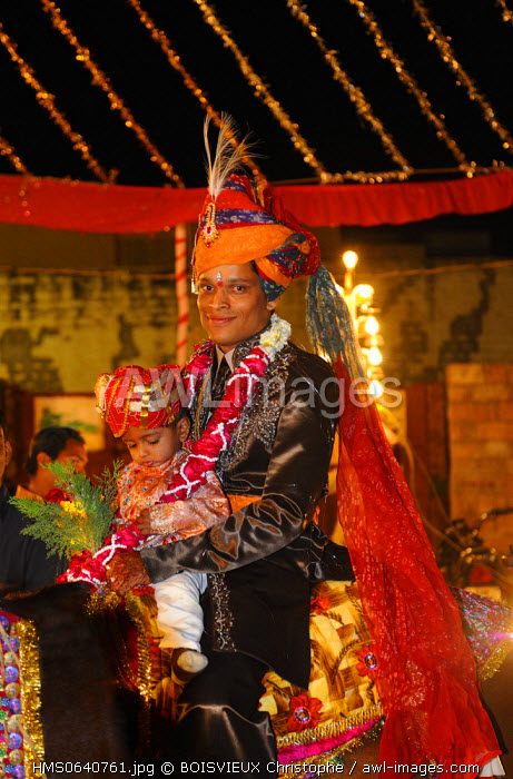 India, Rajasthan state, Rohet, Traditional wedding, bridegroom