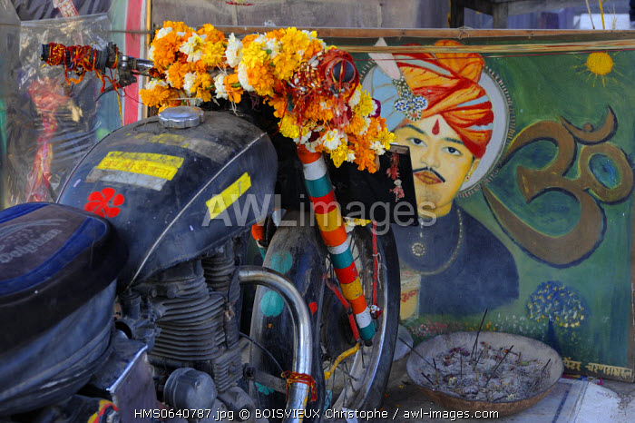 India, Rajasthan state, Pali region, Om Bana roadside shrine. the deity honored here is a Royal Enfield 350 motorcycle
